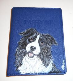 Border Collie Dog Hand Painted Leather by daniellesoriginals