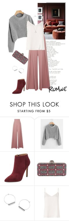"""""""Winter Look"""" by isidora ❤ liked on Polyvore featuring Emilia Wickstead, Pure Navy, Judith Leiber, L'Agence, Clutch, Sweater, romwe, booties and pants"""