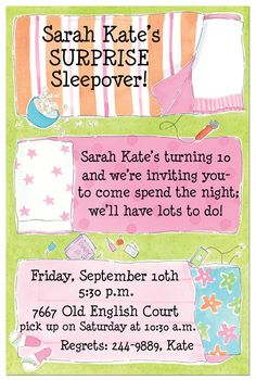 There's nothing like being a young pre-teen/tween going to your first sleepover. Getting a chance to giggle, gossip, and stay up late with the girlfriends makes one feel so grown up! It's an important rite of passage that transitions young girls out of childhood into their teenage years. Be sure to throw your own tween-ager their very own slumber party. Check out Polka Dot's variety of slumber party invitations to find the one that's right for you.