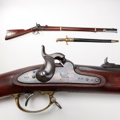 """Remington Model 1863 Percussion Contract Rifle- Also termed the """"Zoauve Rifle,"""" or in official military contracts, the """"Harpers Ferry Pattern Rifle,"""" Remington's .58 caliber two-bander was to see only 12,501 examples created. Fitted with a long sword bayonet, the M1863 didn't have widespread issue, as most examples encountered today are in exceptional condition. Some have speculated that these arms were held in garrison reserves near the military district of Washington to protect the…"""