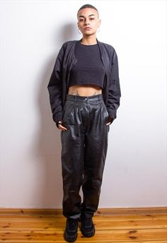 High Waisted Leather Trousers, Black Grunge, Vintage Grunge, Trousers Women, Tartan, Parachute Pants, Black Leather, Punk, Style
