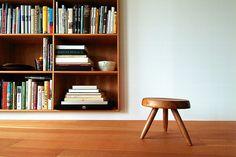 Wood-framed inset shelving