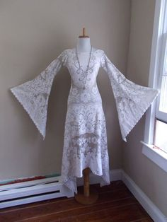 Vintage 1960s 1970s Sheer Cut Out White & Beige by bluebarnvintage, $159.99