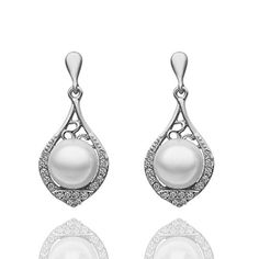 VANKER 1 Pair Silver Pearl Diamond Unique Hollow Lute Shape Pierced Ear Studs Earrings Eardrop >>> You can find more details by visiting the image link. Note:It is Affiliate Link to Amazon.