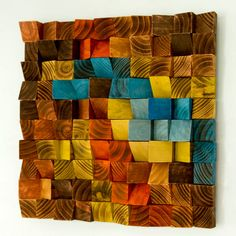Wood Wall Art, Modern wall sculpture, 3D triangles, hand painted, woodburned, cut, dyed and sanded. Each piece is painted in unique acrylic or