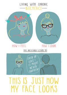 chronic bitchface print. story of my life.   $38 art. funny. illustration. smile.