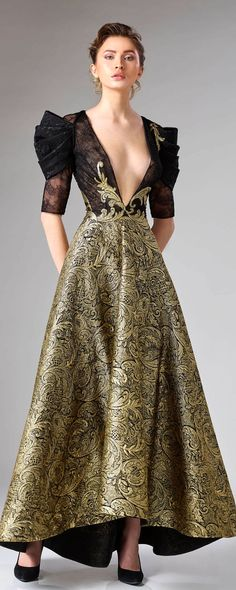 """Edward Arsouni """"Divina"""", H/W - Couture - beautiful dresses - Mode Gold Evening Gowns, Evening Dresses, Style Haute Couture, Moda Vintage, Vintage Hats, Glamour, Beautiful Gowns, Classy Outfits, Designer Dresses"""