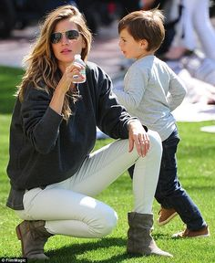 Supermodel mom: Gisele Bundchen looked glamorous on Saturday while taking son Benjamin to a New York City park