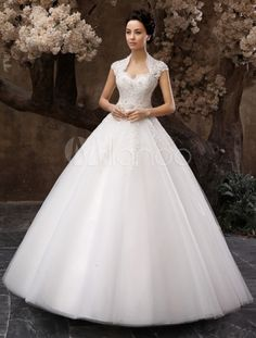 Floor-Length White Ball Gown Sequin Wedding Dress For Bride with Keyhole Neck