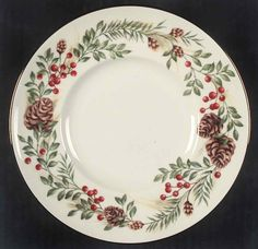 Entertain, gather, and turn your house into a home that's undeniably yours with the Williamsburg Boxwood & Pine Salad/Dessert Plate by Lenox. Lenox Christmas, Christmas Dinnerware, Christmas China, Christmas Dishes, Rustic Christmas, Christmas Table Settings, Christmas Decorations, Christmas Paintings, Xmas
