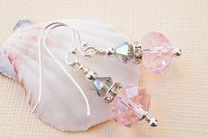 Pink and grey earrings with Swarovski Black Diamond crystal