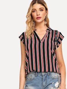 SheIn offers V Neckline Striped Top   more to. Top ListradoIdéias De  ModaRoupas FashionModa FemininaRoupas Para O OutonoTendências ClássicasMangas  ... d6119e76cc55c