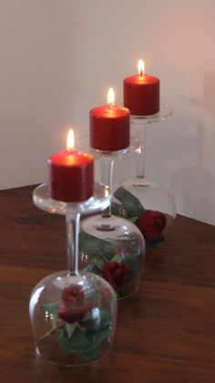 Valentine's Day Centerpiece - Roses, wineglasses & candles! An easy DIY, using what you have.  Upcycle / Recycle your wine glasses for this fun and easy Valentine's Day Centerpiece! - Momcrieff