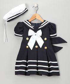 Navy Sailor Dress & Hat - Infant, Toddler & Girls | Daily deals for moms, babies and kids