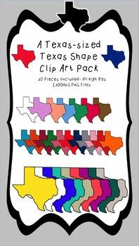This clip art pack is sure to brighten any Texas project with these high res (300 dpi) PNG files!  There are 29 different colors and the outline included!  (30 in all!!!!)  You can use them in your personal or commercial products.  All I ask is that you add a link to my TpT store if you use them commercially! :)If you like this product, you will love my Texas Sized Texas Symbol Clip Art Set!!!!