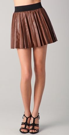 Brown Leather Pleats