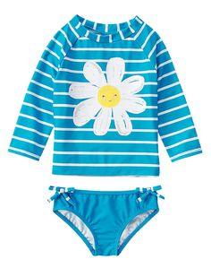 Gymboree Girl Flower Shower Turquoise Striped Daisy Rash Guard Set