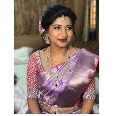 Latest Bridal Saree Designs are Pastel Shades of Kanjeevaram Bridal saree collection. Peach shade sarees, Lilac bridal sarees, Purple kanchipuram sarees, Turquoise Sarees, Mint shade saree designs and many more collection in handloom sarees Wedding Saree Blouse Designs, Pattu Saree Blouse Designs, Half Saree Designs, Fancy Blouse Designs, Salwar Designs, Indian Bridal Sarees, Indian Bridal Outfits, Pattu Sarees Wedding, Half Saree Lehenga