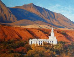 """""""Exalted Above the Hills"""" is an original oil painting by artist Dix Baines of the Saint George, Utah Temple built by the Church of Jesus Christ of Latter-Day Saints. The original painting has been sold. Framed, signed, limited edition giclees on canvas are available for purchase through the Dix Baines Studio at 720.353.2670. Two sizes are available: 16""""x12 1/2"""" and 8""""x6""""."""