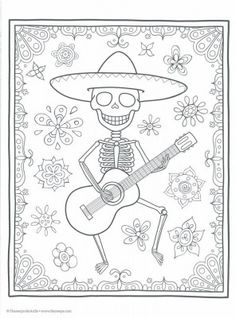 Day of the Dead Coloring Book (Coloring is Fun) (Design Originals) 30 Beginner-Friendly Creative Art Activities with Sugar Skulls on High-Quality Extra-Thick Perforated Paper to Resist Bleed Through Skull Coloring Pages, Halloween Coloring Pages, Animal Coloring Pages, Coloring Sheets, Adult Coloring, Coloring Books, Kids Coloring, Colouring, Fete Halloween