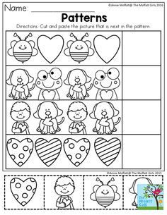 Patterns- Cut and paste the picture that is next in the pattern. Simple activit… Patterns- Cut and paste the picture that is next in the pattern. Simple activities to build confidence in early learners! Preschool Lessons, Preschool Classroom, Preschool Worksheets, Preschool Learning, Teaching Math, Preschool Activities, Kindergarten, Pattern Worksheet, Cut And Paste