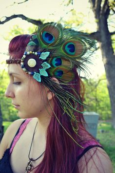 Naturally Shed Peacock Feathers Headband with by LeatherMeFeathers, $60.00