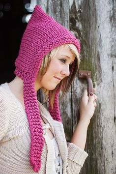 Knit Hat Womens Hat Chunky Knits Pixie Hat in by pixiebell