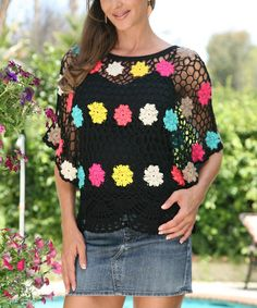 Look at this #zulilyfind! Black & Fuchsia Floral Crocheted Cape-Sleeve Top by Ananda's Collection #zulilyfinds
