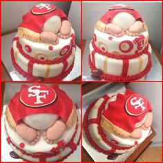 San Francisco 49ers Football babyshower cake | ... cake, 49ers themed baby shower, red and gold, San Francisco 49ers cake