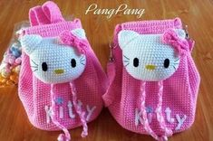 Ideas for crochet bag girl hello kitty Crochet Hello Kitty, Chat Hello Kitty, Crochet Handbags, Crochet Purses, Crochet Toys, Hat Crochet, Crochet Girls, Crochet For Kids, Crochet Winter