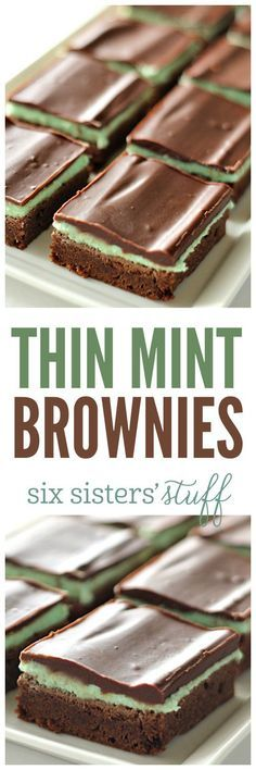 Thin Mint Brownies from SixSistersStuff Mint Desserts, Chocolate Desserts, Easy Desserts, Delicious Desserts, Yummy Food, Chocolate Brownies, Mint Chocolate, Chocolate Lovers, Brownie Recipes