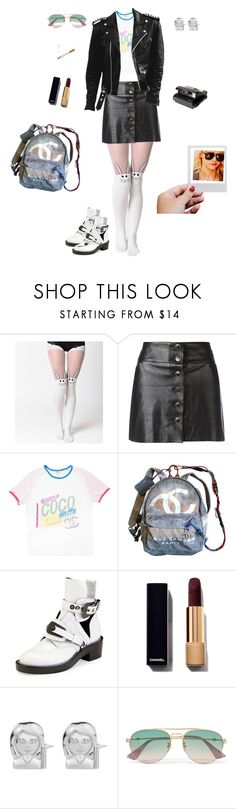 """School girl Sunday!!!"" by kitty1126 ❤ liked on Polyvore featuring Chanel, Balenciaga, Rock 'N Rose, Polaroid and Gucci"