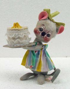 Vintage AnnaLee Little Girl Mouse Felt Figurine with Birthday Cake Folk Art Doll Annalee Rainbow Skirt by RetroCentsStudio on Etsy