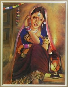 Beauty in the Light (Reprint on Paper - Unframed) Rajasthani Painting, Rajasthani Art, Indian Women Painting, Indian Art Paintings, Nature Paintings, Art Drawings For Kids, Art Drawings Sketches Simple, Drawing Pics, Indian Folk Art