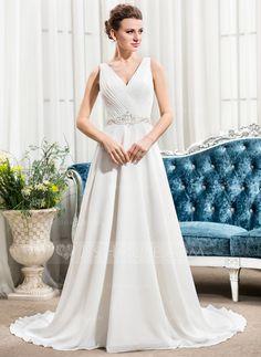 [R$ 621.84] Vestidos princesa/ Formato A Decote V Cauda de sereia De chiffon Vestido de noiva com Pregueado Bordado Lantejoulas (002056484)