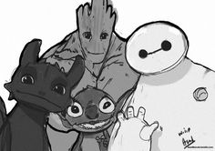 Toothless, Stitch, Groot, and Baymax! Take Groot out and it's perfect. Cute Disney, Disney Dream, Disney Magic, Disney Art, Baymax, Disney And Dreamworks, Disney Pixar, Toothless And Stitch, Disney Stich