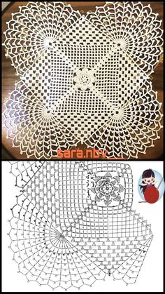 Crochet Flower Squares, Crochet Doily Diagram, Crochet Doily Patterns, Thread Crochet, Crochet Flowers, Crochet Dollies, Crochet Baby, Knit Crochet, Point Lace