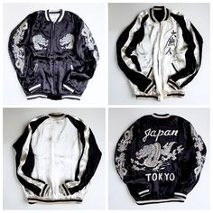 Swaggy Swagger Japanese ZEN Simpe Black and White Dragon Ryu JAPAN TOKYO Tattoo Art Design Souvenir Sukajan Jacket - Japan Lover Me Store