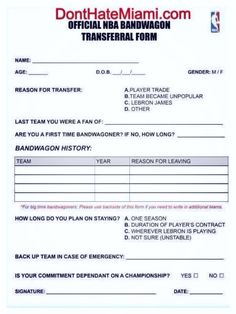 OFFICIAL NBA BANDWAGON TRANSFERAL FORM 2014 Applies to all ...