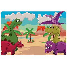 Jurassic Pet Mats for Food and Water by Lunarable, Dinosaur Cartoon Happy Palm Tree Hills Volcano Seaside Sandy Beach Smile, Rectangle Non-Slip Rubber Mat for Dogs and Cats, Multicolor -- You can get additional details at the image link. (This is an affiliate link) #Dogs