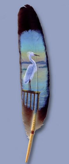 Snowy Egret Native to North America's east coast, this waterbird was painted specifically for Artisans of the World in St. I understand quite a lot of these graceful birds can be seen in the wetlands of Chesapeake Bay. Feather Painting, Feather Art, Love Painting, Thompson, Alaska, Felt Pictures, Expressive Art, Hand Art, Gourd Art