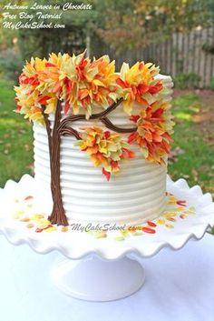 Hojas de otoño en la torta del chocolate gratuito decoración tutorial MyCakeSchool.com!