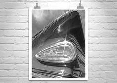 50s Car Art Print, Chevy Impala, Car Photography, Tail Fins, Car Pictures, Black and White, Chevrolet Impala, Guy Thing, Murray Bolesta by MurrayBolesta on Etsy