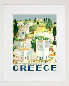 Greece Art Vintage Travel Poster Print Home Wall by Blivingstons