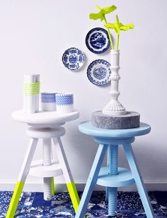 Spring decor -because I have a lot of blue and white china!   Google Image Result for http://3.bp.blogspot.com/-Vt6lOO6o6MI/UAzjm2dwNnI/AAAAAAAAIhc/l3U_1eHSstw/s1600/neon-trend-home-decor-ideas-sidetable-bar-stool-blue-green-yellow-cheerful-color-scheme-spring-summer-spray-paint-living-room.jpg