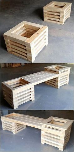 Modern Designed DIY Wood Pallet Creations This wood pallet bench with planters design idea has always come up to be one of the best idea in terms of the wood pallet usage in the outdoor furnit. Diy Furniture Couch, Pallet Furniture Designs, Pallet Garden Furniture, Outdoor Furniture Design, Furniture Projects, Wooden Furniture, Antique Furniture, Pallet Designs, Pool Furniture