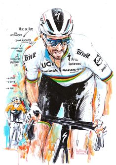 Der Weltmeister Julian Alaphilippe, Deceuninck Quick Step, gewinnt nach 2018 & 2019 den 85. Flèche Wallonne 2021 (100x70cm) Cycling Art, Bike, Illustration, Movie Posters, House, Bicycles, Cycling, Road Cycling, Bicycle