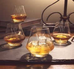 Add these Contemporary Personalized Whiskey Glasses to your home bar to complete your set.