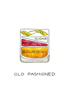 Old Fashioned Cocktail Diagram via Etsy... one of my favorite drinks. .. along with whiskey sour