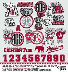 Anchor Monogram, Vinyl Monogram, Monogram Frame, Silhouette Cameo Projects, Silhouette Design, Football Themes, University Of Alabama, Vinyl Shirts, Alabama Crimson Tide
